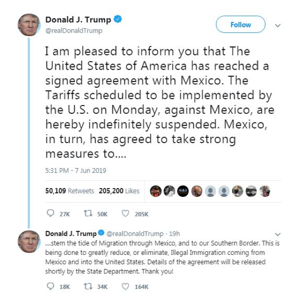 Deal Reached: Trump Cancels Tariffs on Imports from Mexico